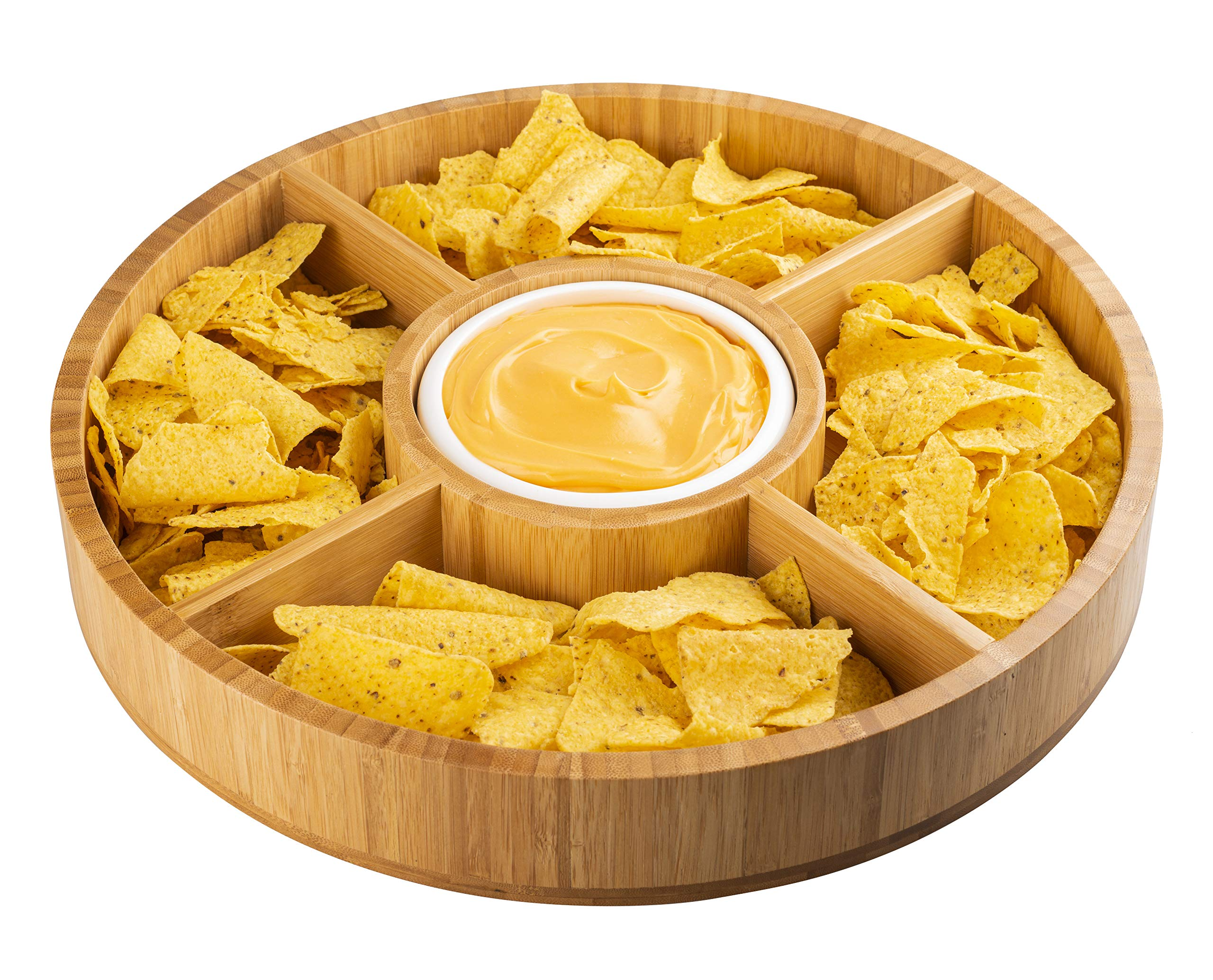 Strova 15 Inch Wood Bamboo Chip and Dip Serving Platter Set w/Ceramic Dip Bowl | Round & Large Chips Bowl Appetizer Server for Event Use | Salsa, Taco Chip, Guacamole, and Snacks Serving Tray