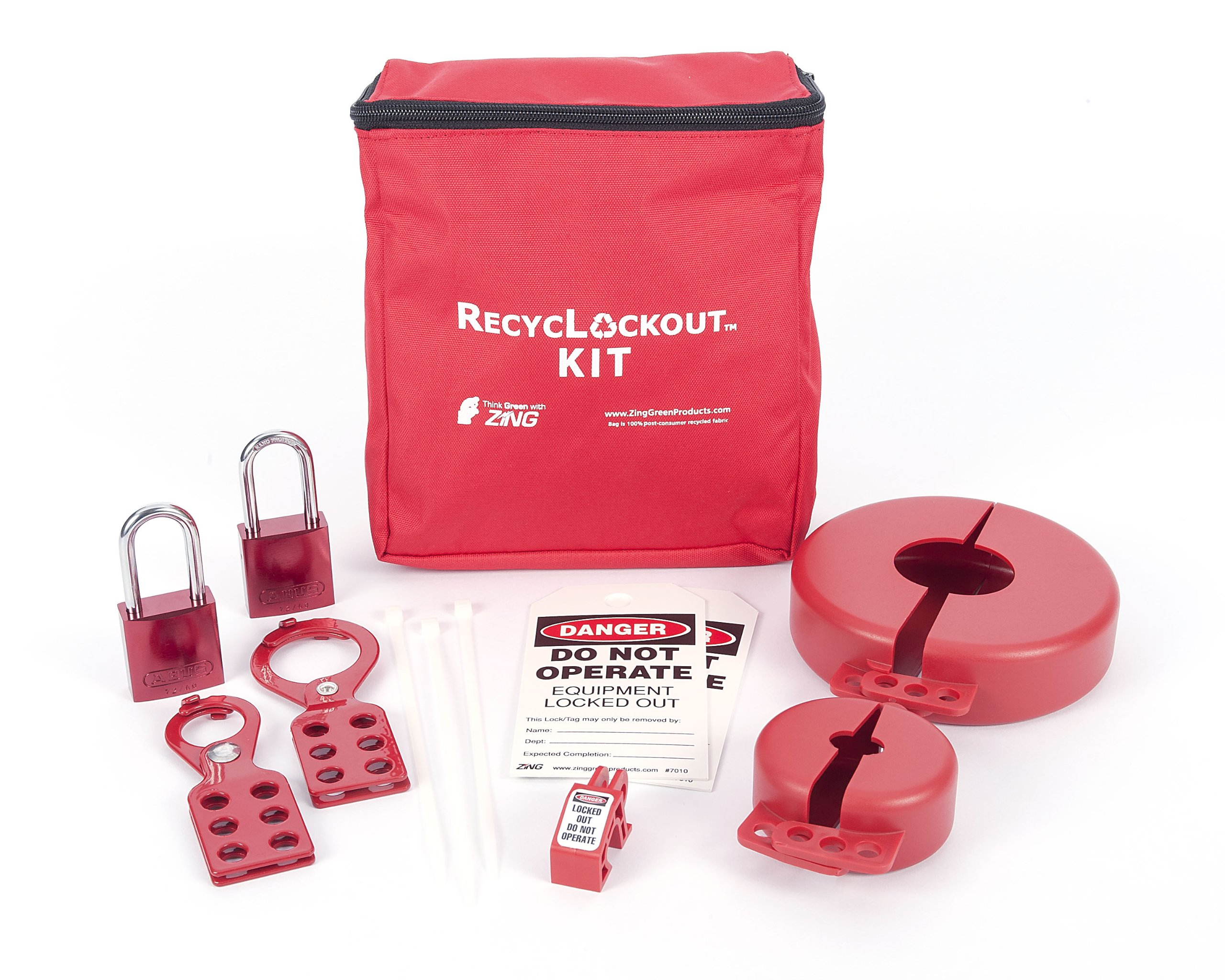 ZING 2732 RecycLockout Lockout Tagout Kit with Aluminum Padlocks, 12 Component, Valve Lockout