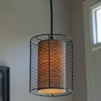 Cooper Chicken Wire and Burlap Pendant Light