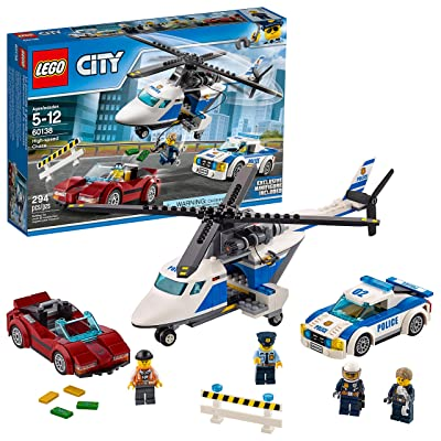 LEGO City Police High-Speed Chase 60138 Building Toy with Cop Car, Police Helicopter, and Getaway Sports Car (294 Pieces): Toys & Games