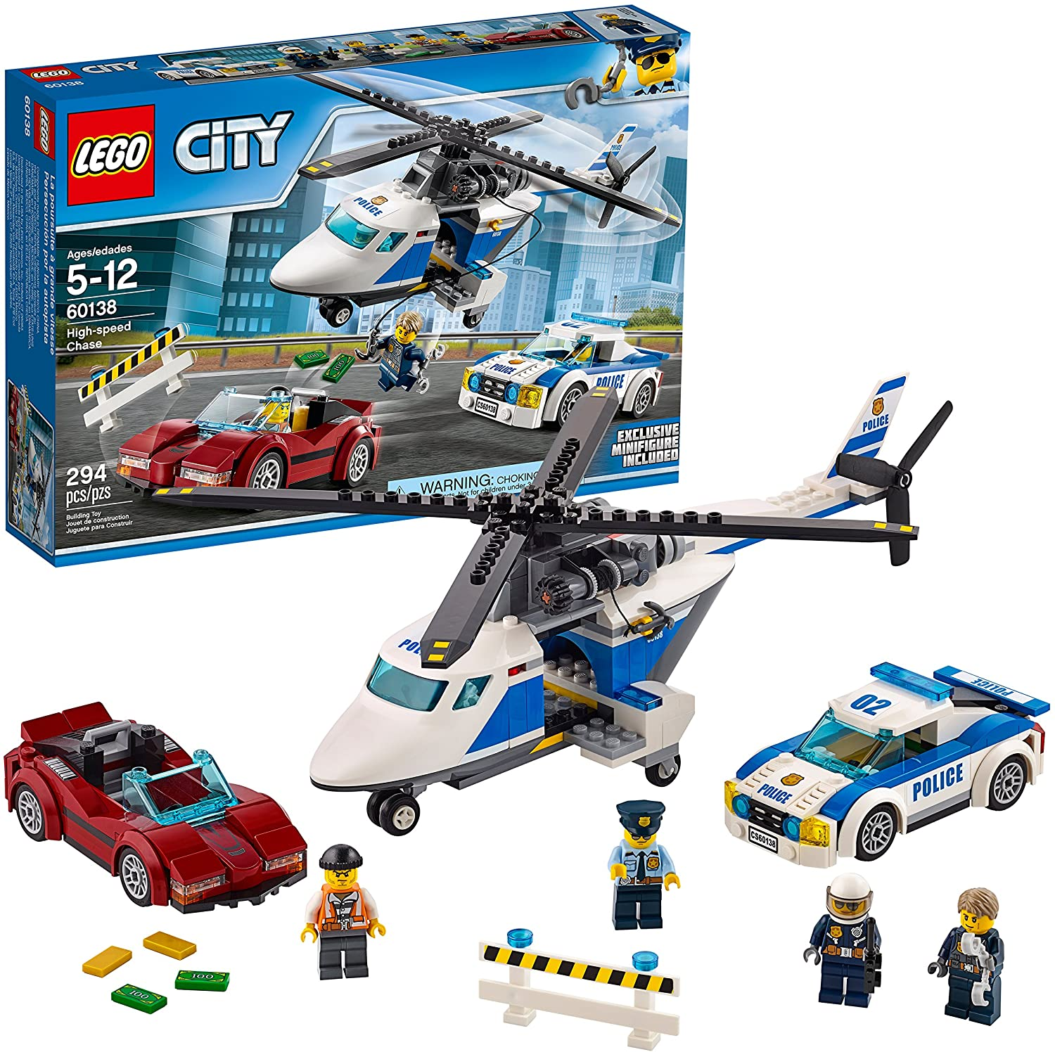 Amazon Com Lego City Police High Speed Chase 60138 Building Toy With Cop Car Police Helicopter And Getaway Sports Car 294 Pieces Toys Games