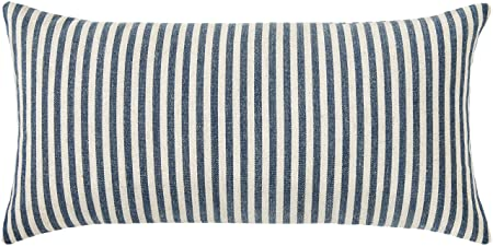 Ravenna Home Casual Striped Throw Pillow – 24 x 12 Inch, Navy