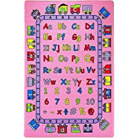 "Mybecca Kids Rug ABC Fun in Pink 3' X 5' Children Area Rug for Playroom & Nursery - Non Skid Gel Backing (39"" x 56"")"
