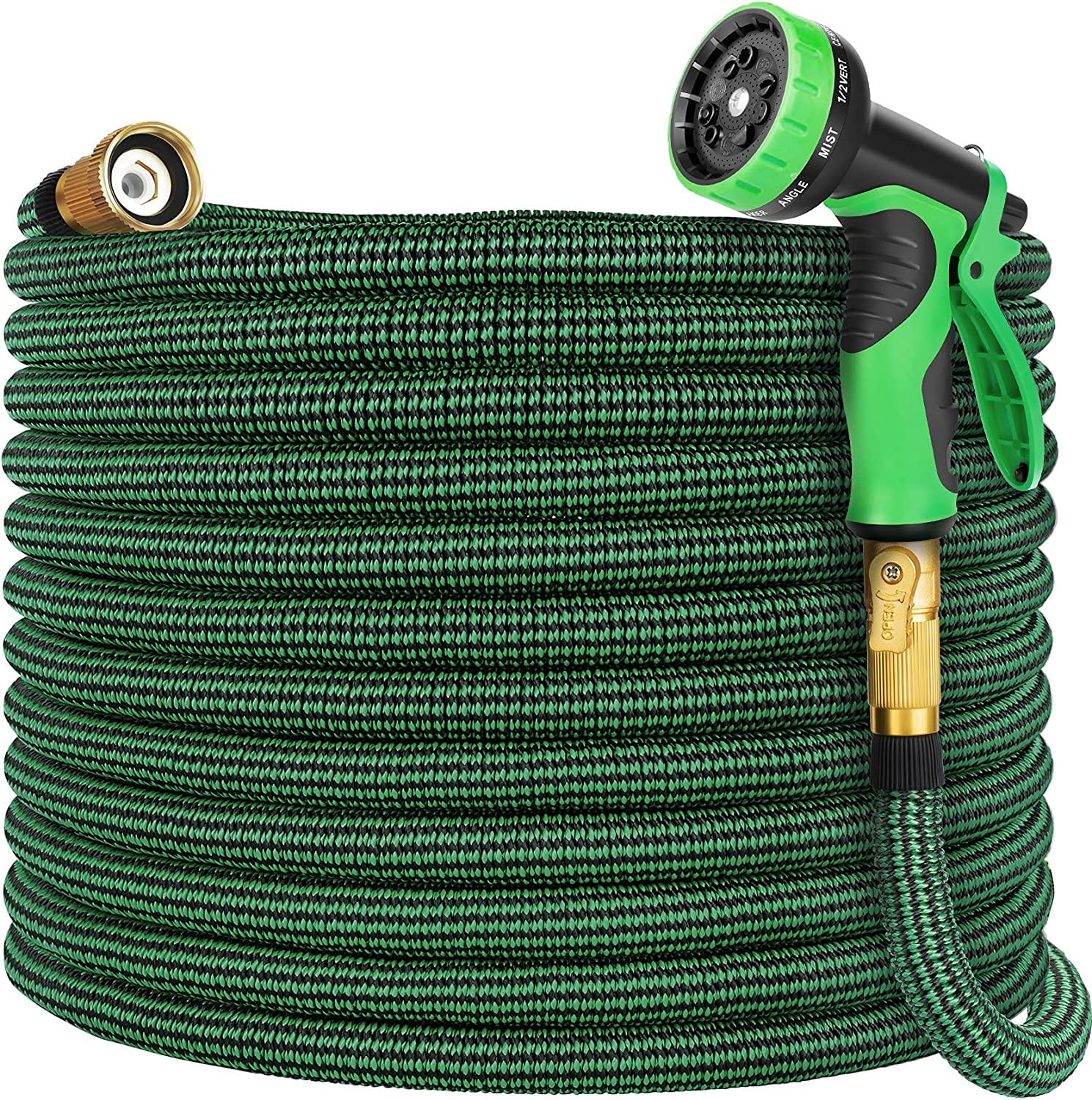 Vezane Garden Hose 50ft, Water Hose with 10 Function Nozzle and Durable 4 Layers Latex, Lightweight Expandable Hose for Garden Watering, No-Kink Flexible Hose for Car Washing