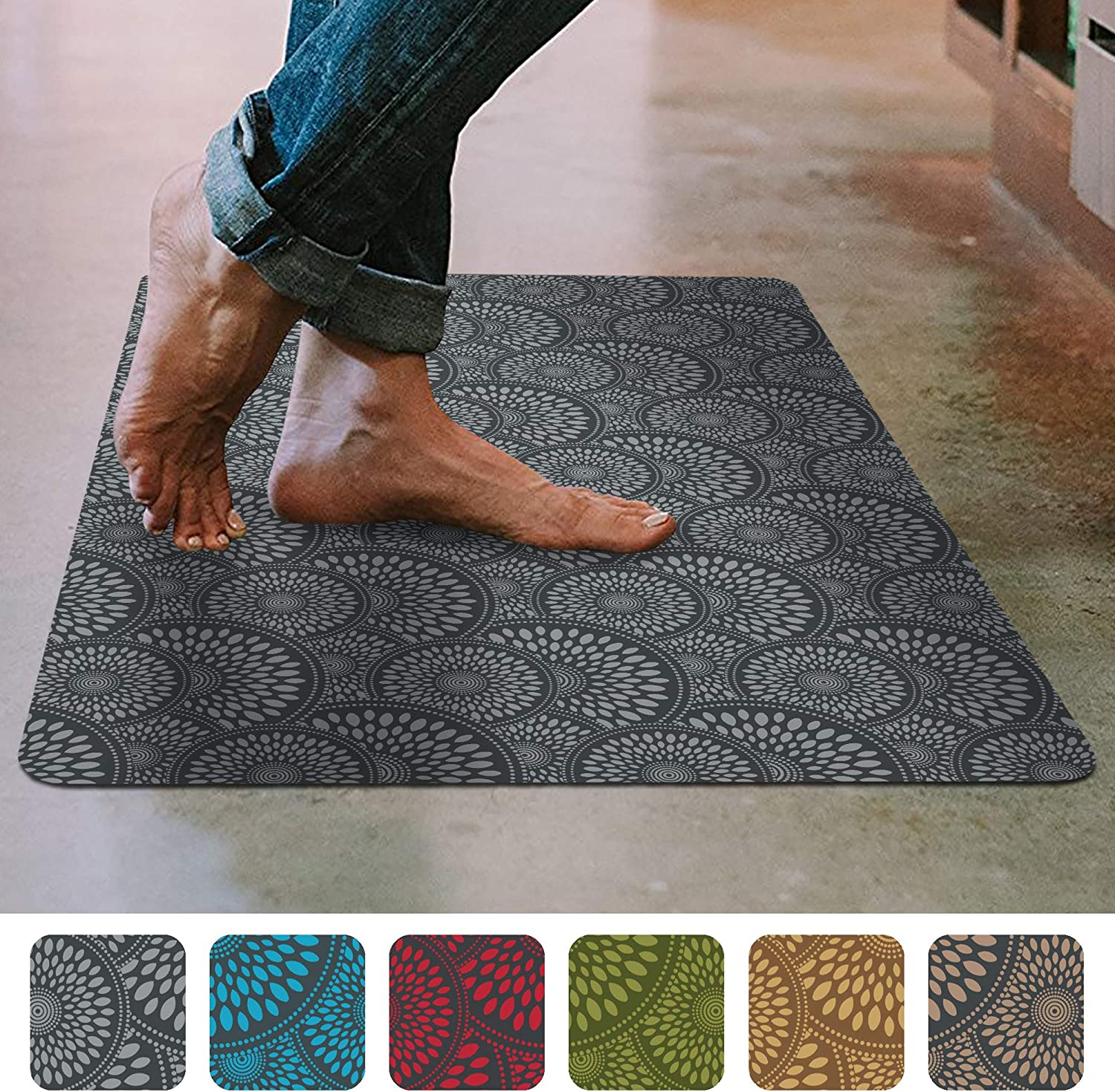 "Shape28 Floor Mat Ultra-Thin Kitchen Rug with Non Slip Rubber Backing 35""x23"", Gray"