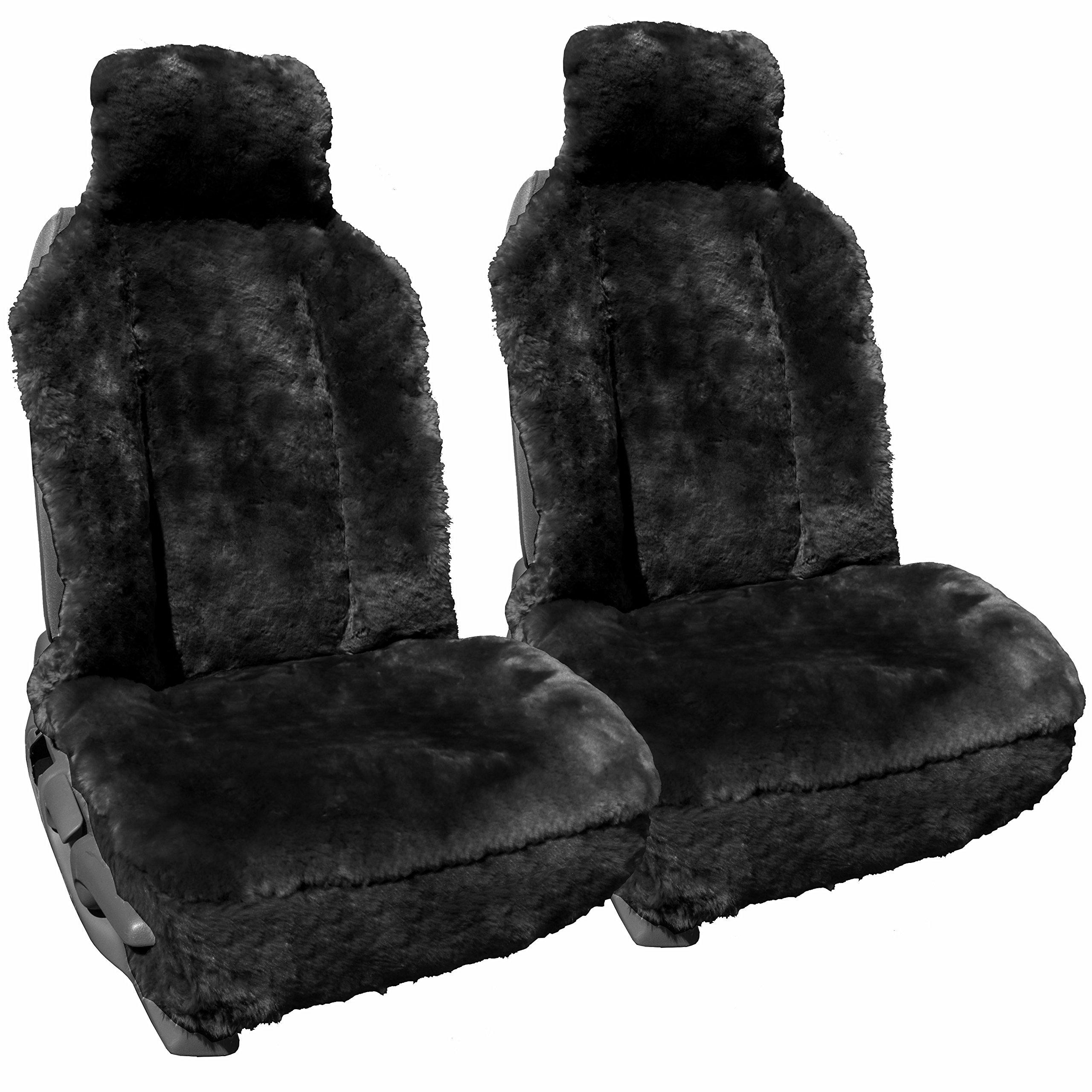 Genuine Sheepskin Car Seat Covers - Universal Seat Covers - Charcoal - 1 Pair (2 Seat Covers)