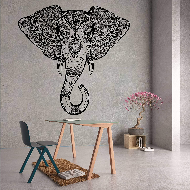 Z2342 Wall Vinyl Sticker Decal Elephant Ganesha Buddha Indian Skull Animal