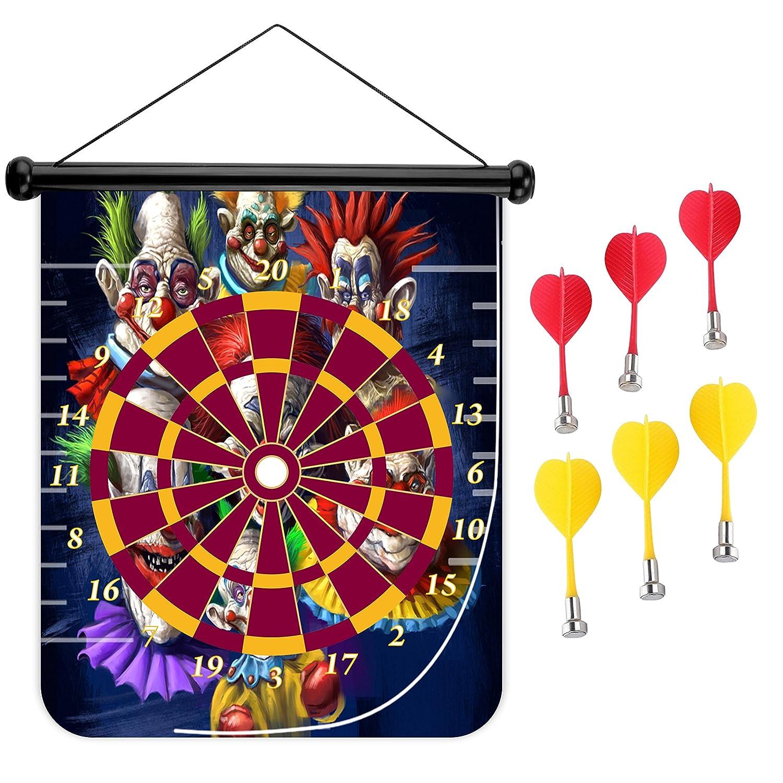 15インチMagnetic Dart Board Double Sided Hanging Dart Board Set and Bullseyeゲーム。Crazy Clown B078YT687T