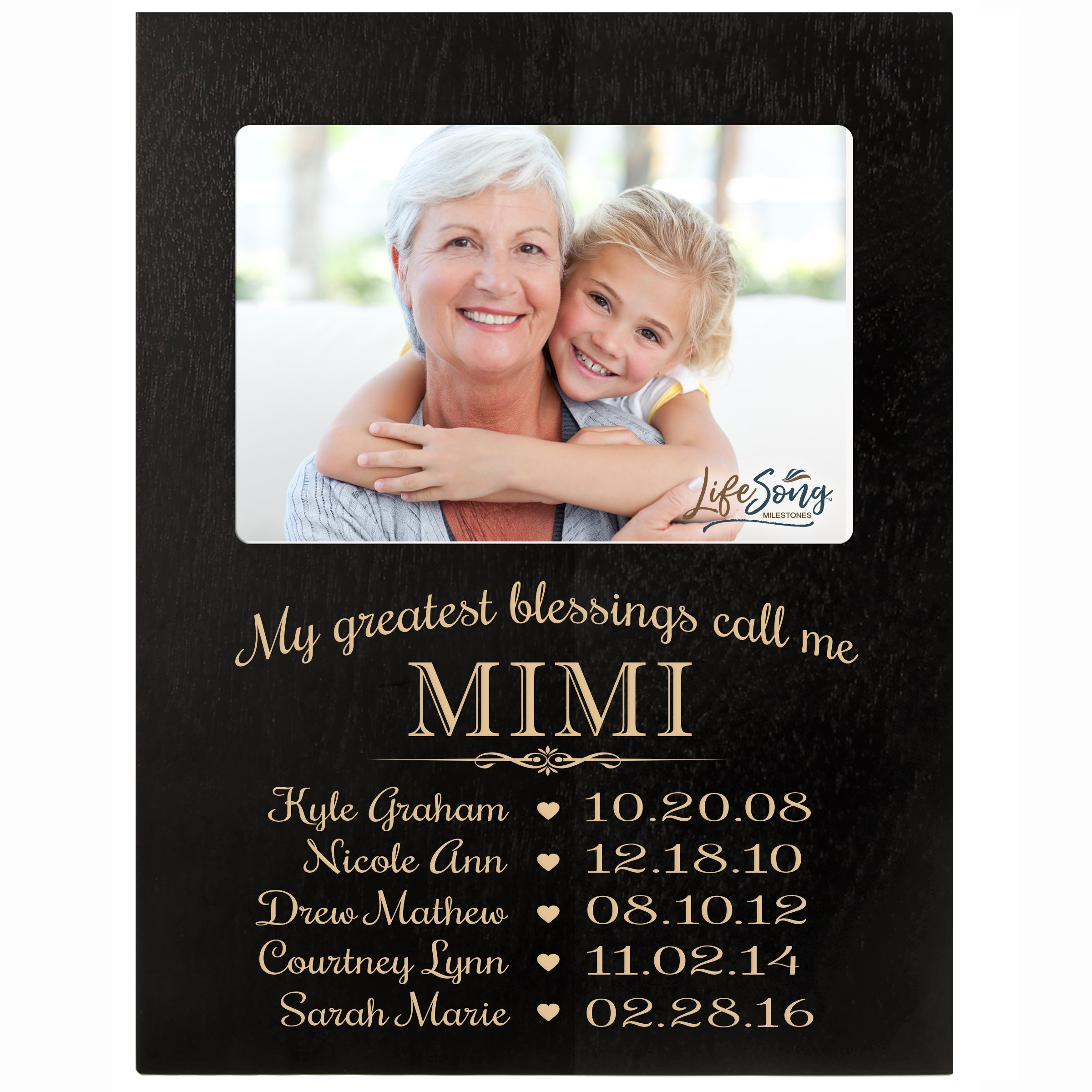 LifeSong Milestones Personalized Gift for Mimi Picture Frame with Children's Names and Kid's Birth Date Special Dates My Greatest Blessings Call me Mimi Holds 4x6 Photo (Black)