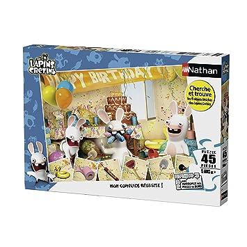 Nathan 86475 Puzzle Joyeux Anniversaire Lapins Cretins 45 Pieces