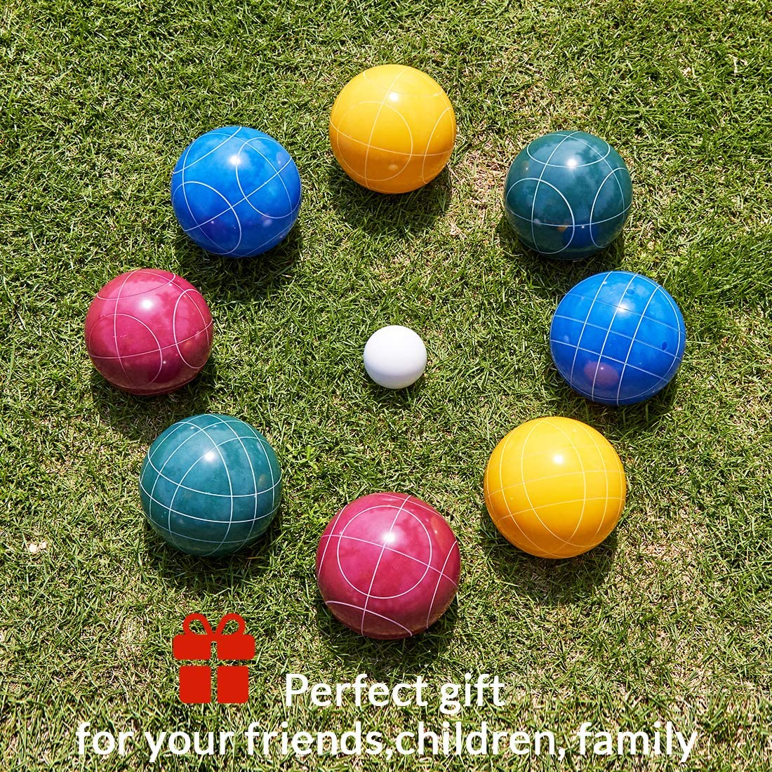 Single Blue, 90mm ApudArmis Bocce Ball Replacement with Straight Line Pattern Outdoor Family Bocce Game for Backyard//Lawn//Beach