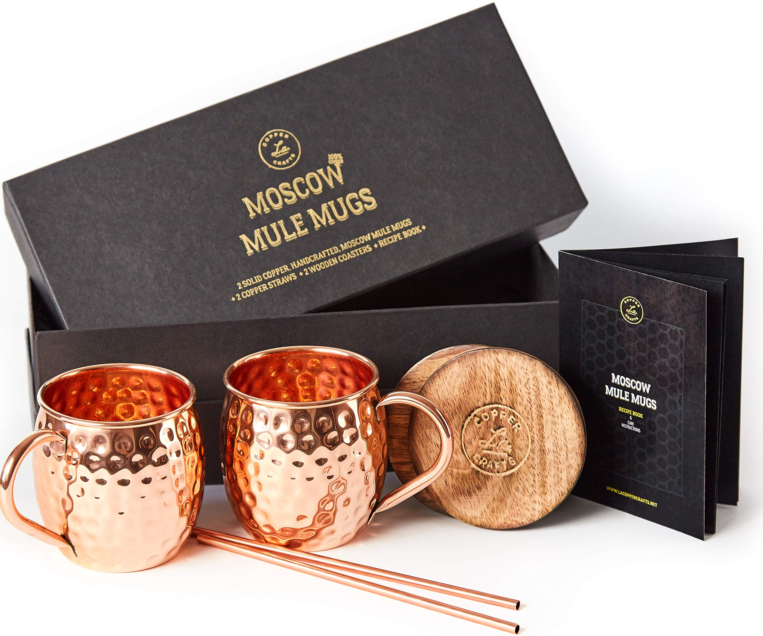 Moscow Mule Copper Mugs Set - 2 Authentic Handcrafted Copper Mugs (16 oz.), 2 Straws, 2 Solid Wood Coasters and Recipe Book - Gift Box Included by L.A. Copper Crafts