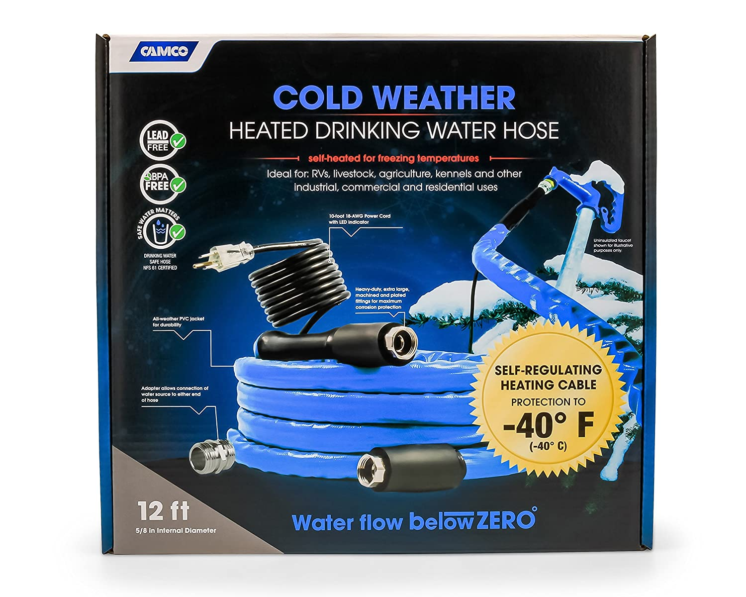 Amazon.com: Camco 12ft Cold Weather Heated Drinking Water Hose Can  Withstand Temperatures Down to -40°F/C - Lead and BPA Free, Reinforced for  Maximum Kink ...