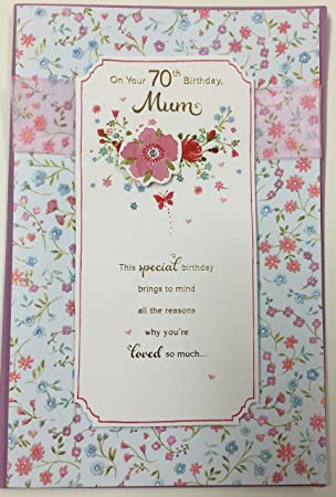 70th Birthday Mum Large Sparkling Flower Cut Greetings Card With