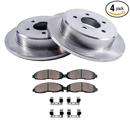 Detroit Axle - Rear Disc Brake Rotors & Ceramic Pads w/Clips Hardware Kit Premium