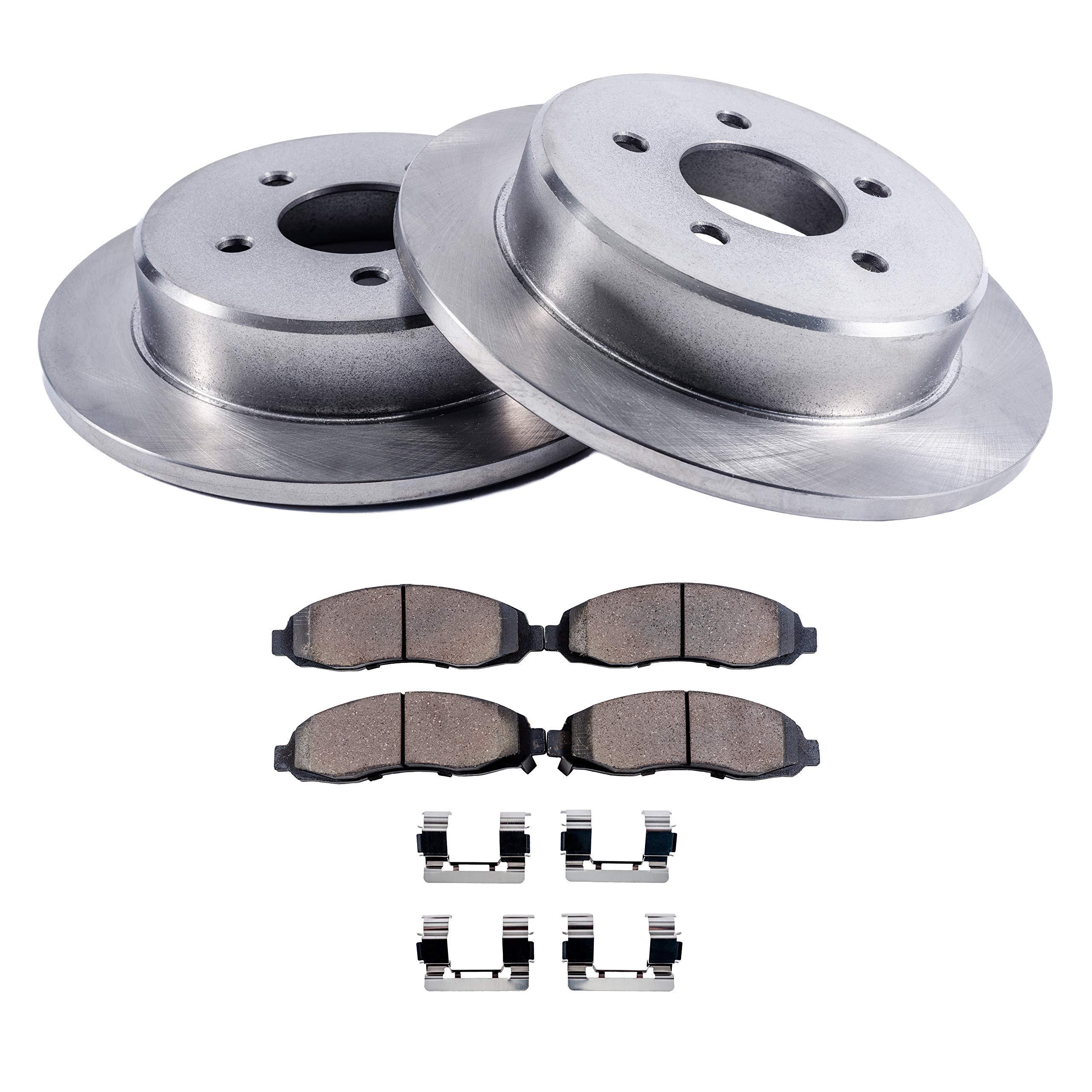 Detroit Axle - 5-Lug Rear Disc Brake Rotors & Ceramic Pads w/Clips Hardware Kit - Premium GRADE