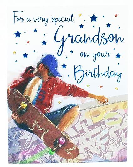Tarjeta de felicitación de cumpleaños para nieto, monopatín ...