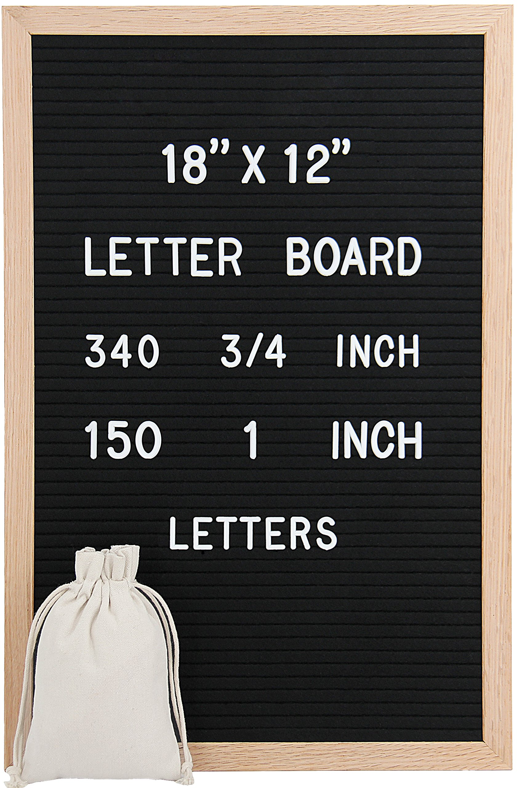 18 x 12 Inch Felt Letter Board - Changeable Letter Board, Black Felt Boards with 490 (340 3/4'' and 150 1'') Letters and Characters, Imported Oak Wooden Frame, Mounting Hook, Letter Storage Bag R001