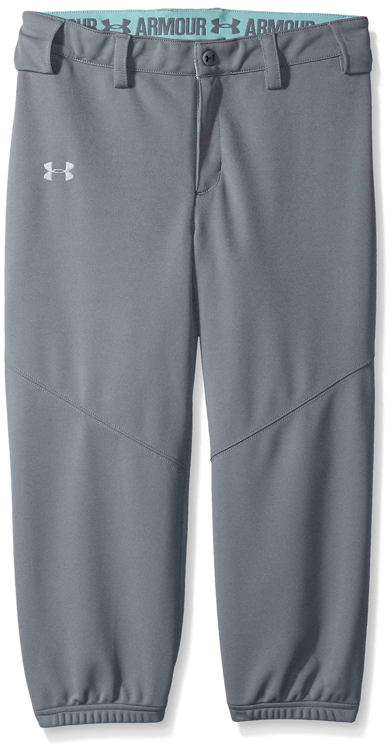 Under Armour Girls' Base Runner Softball Pants, Steel (035)/Overcast Gray, Youth Large by Under Armour (Image #1)