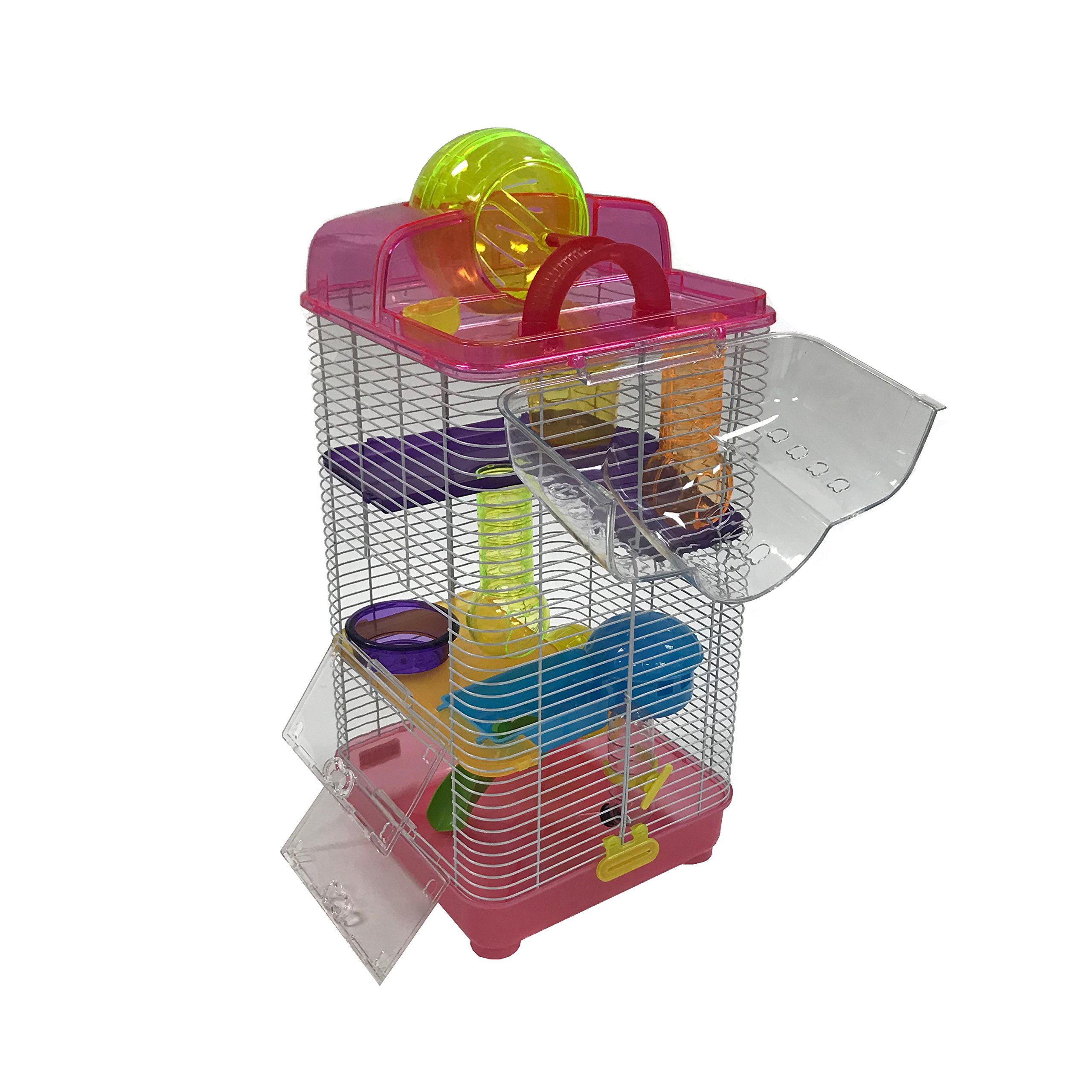 YML 3-Level Clear Plastic Dwarf Hamster Mice Cage with Ball on Top, Pink by YML (Image #2)