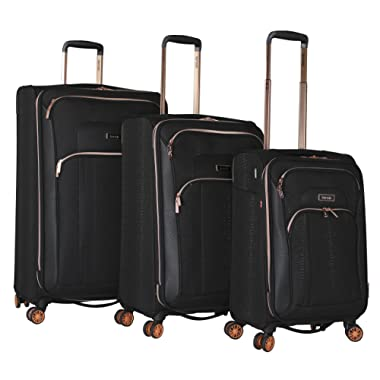 kensie 3 Piece Jacquard Pattern Fashion Luggage Set, Black Pattern Option