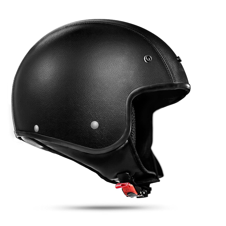 Gr/ö/ße ATO Moto Classic Leder Jethelm Motorradhelm in Schwarz matt extrem leicht ECE 2205 S 55-56cm