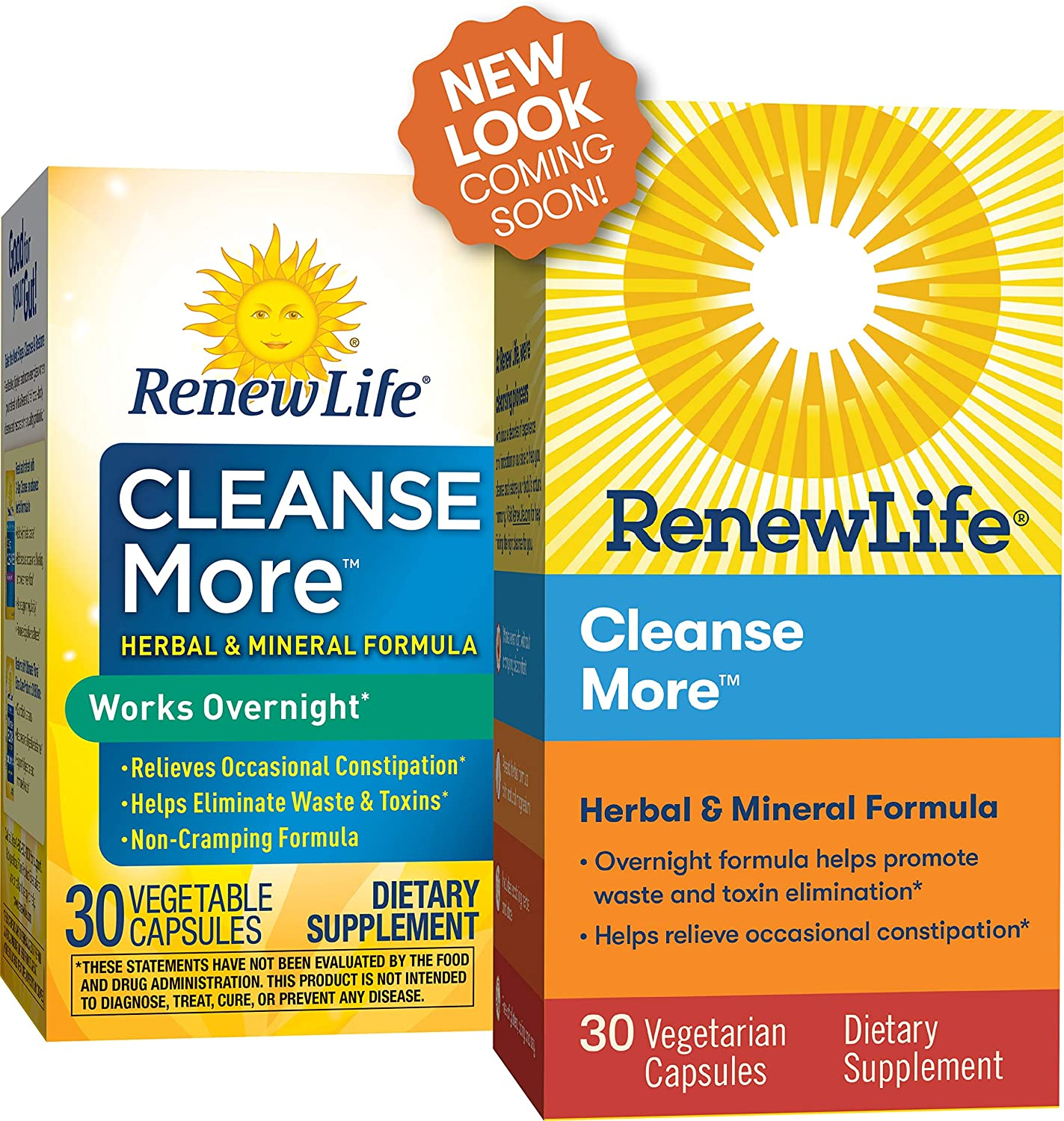 Renew Life Adult Cleanse - Cleanse More, Herbal & Mineral Formula - Overnight Constipation Relief - Gluten, Dairy & Soy Free - 30 Vegetarian Capsules (Packaging May Vary)