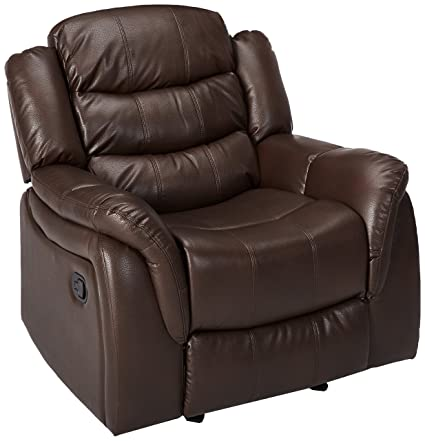 Great Deal Furniture 296446 Merit Brown Faux Leather Glider Recliner Club  Chair