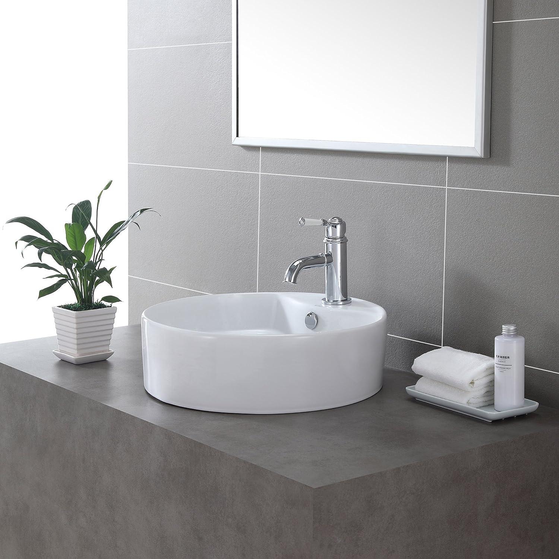 Kraus KCV-142-CH Ceramic Above counter Round Bathroom Sink, 18.5 x 18.5 x 5.5 inches, Chrome White