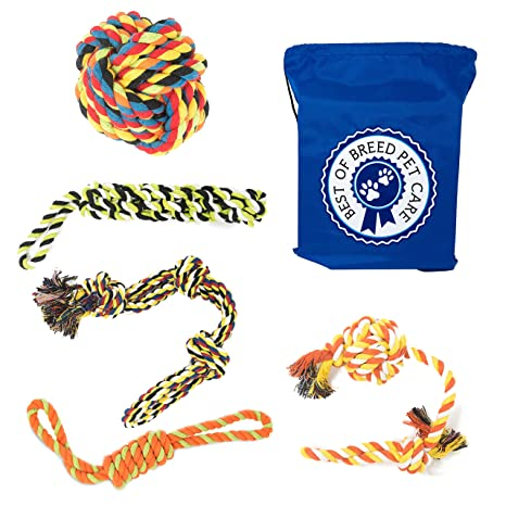Review Dog Rope Toys for Large & Extra Large Dogs, 5 Heavy Duty Chew Toys for Aggressive Chewers, Ideal for Teething & Interactive Play, 6 Pack Including Sling Sack Bag, Multicolor