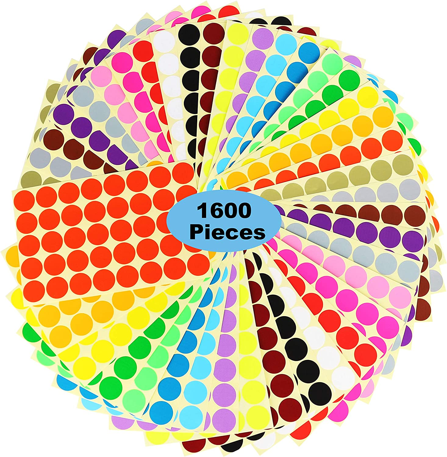 """1600 Dots 1"""" Round Color Coding Labels Circle Dot Stickers,20 Colors Neon Color Coded Stickers Color-Coding Labels Label Circle Stickers,Print or Write for Office, Classroom."""