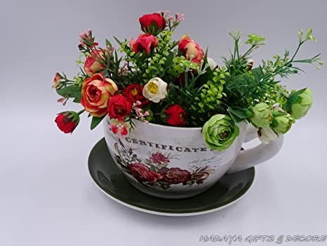Awesome Fancy Teacup Shaped Planter With DARK GREEN Saucer , Shabby Chic, Floral  Design, Ceramic