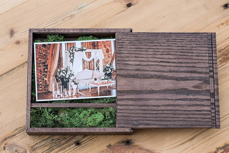 Caja de madera (sin USB), Print & USB Flash Drive Box, caja de fotos personalizada con memoria flash, regalo de boda, caja de prueba para fotografía (Dark ...