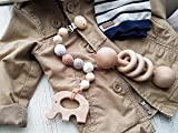 Natural Wood Teething Strap Dummy clip