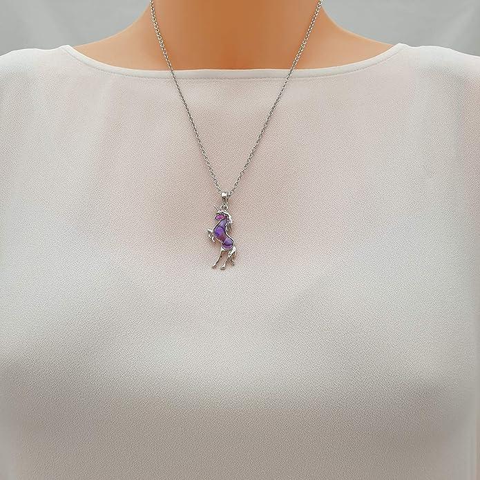 Kiara Schmuck Einhorn Anhänger Halskette mit natürlichem rosa und blau intarsiert Paua Abalone Shell auf 45,7 cm Trace Kette. Silber Farbe,
