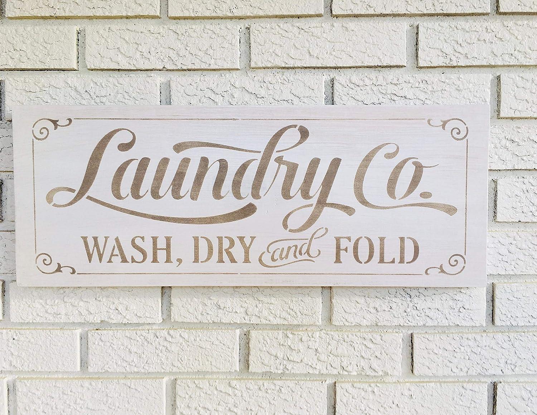 Monsety Laundry & Co - Cartel de Madera rústica para decoración de lavandería, decoración del hogar y lavandería