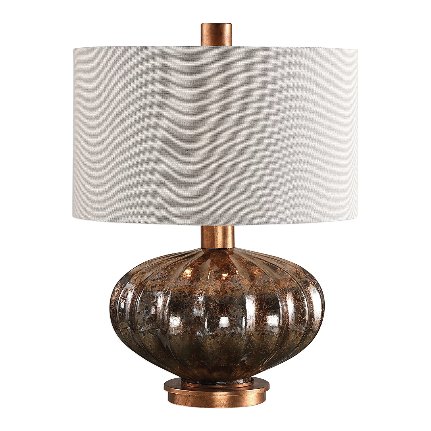 Amazon Com Fat Bronze Glass Copper Metal Table Lamp Ribbed Round