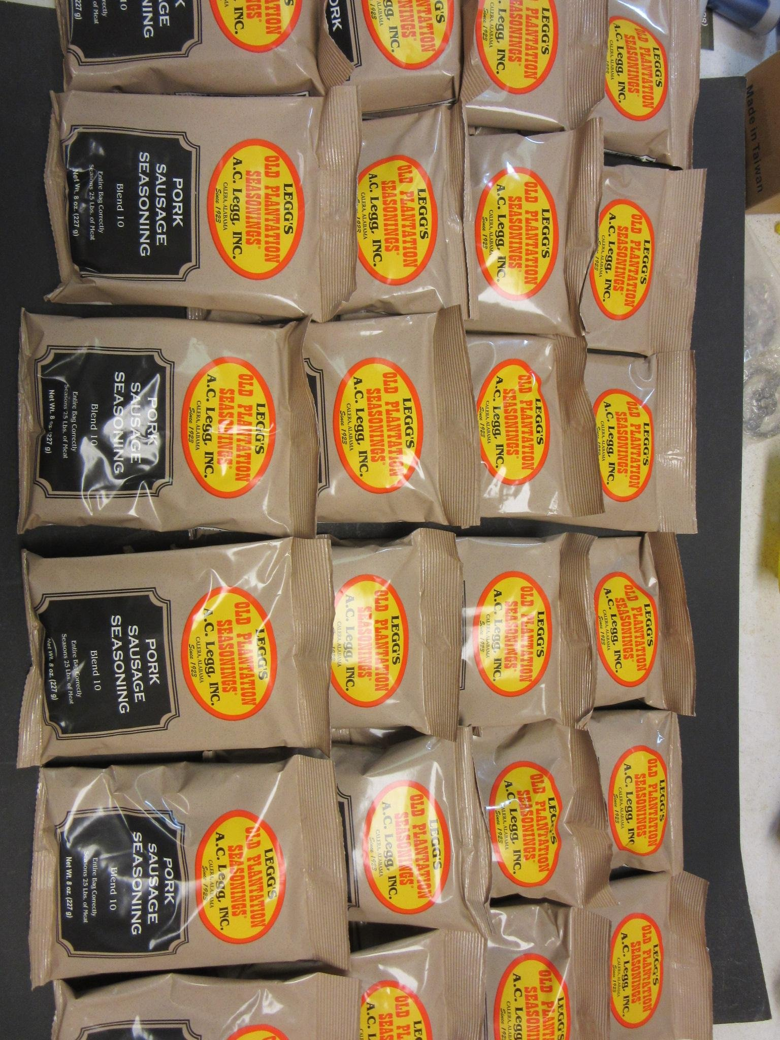 One Full Case of Old Plantation breakfast sausage seasoning. Blend #10 A C Leggs. Ships from Smokehouse Chef in Texas. 24 bags for 600 lbs of sausage. Price is 3.99 per bag