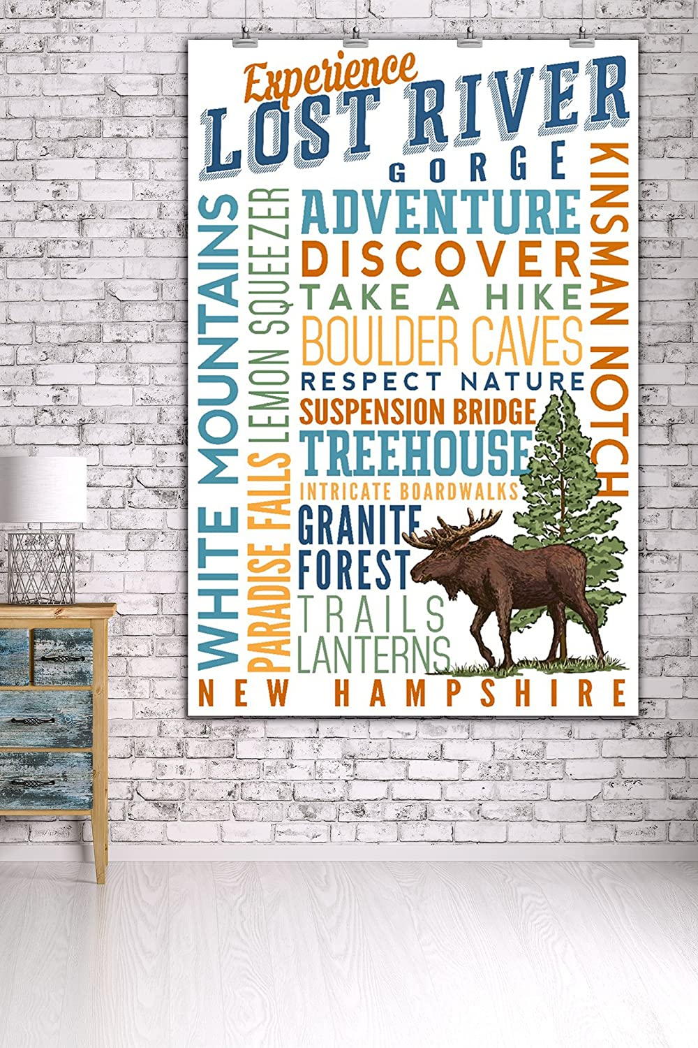 Lost River Gorge New Hampshire Experience Lost River Gorge Typography Press 86077 16x24 SIGNED Print Master Art Print - Wall Decor Poster