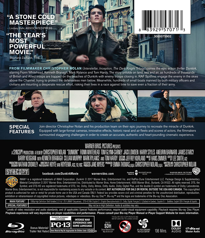 Amazon.com: Dunkirk (2017) (BD) [Blu-ray]: Jake Myers, Christopher Nolan,  Emma Thomas, Fionn Whitehead, Tom Glynn-Carney, Jack Lowden, Harry Styles,  ...