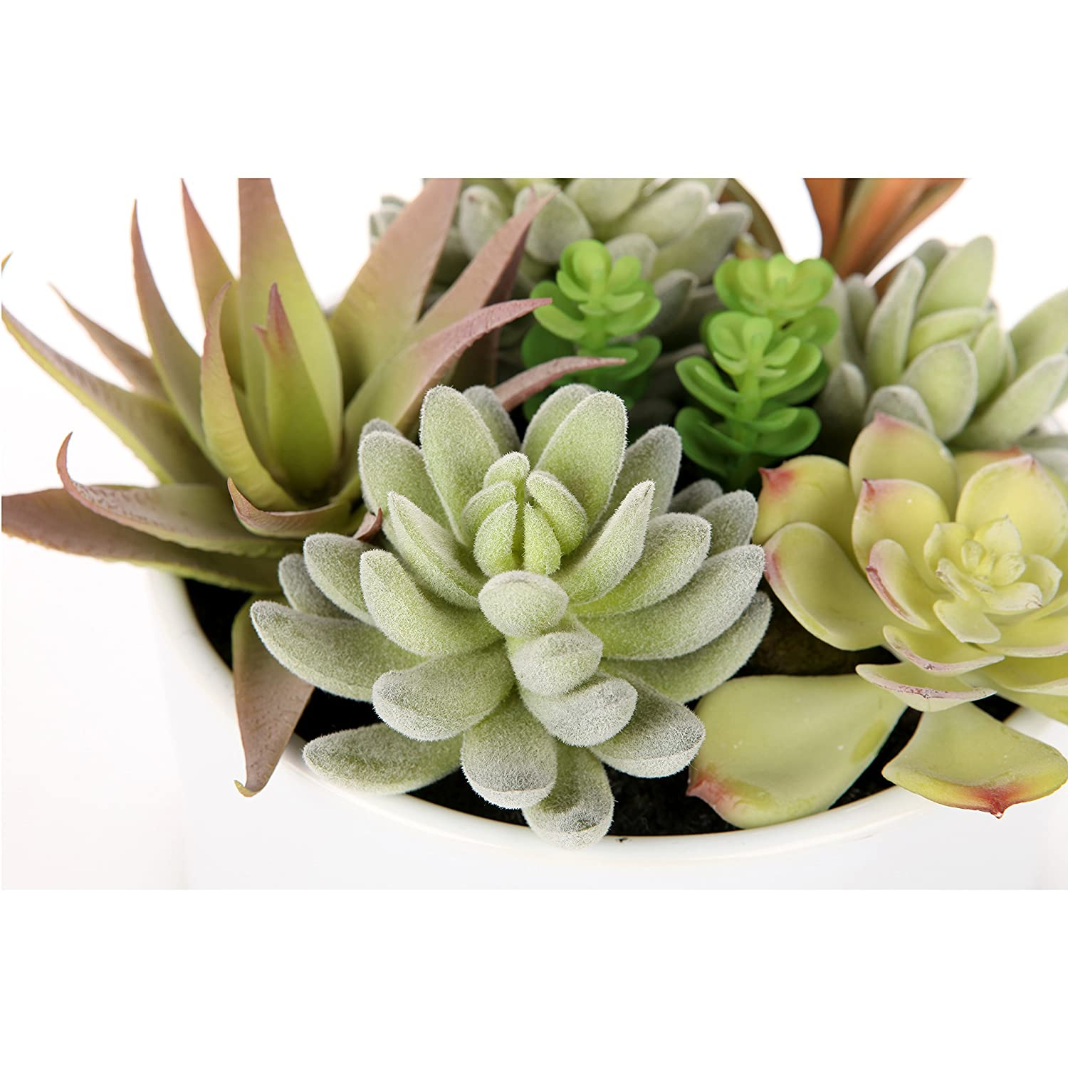 MyGift Decorative Round Faux Potted Succulents//Artificial Plant in 6 Inch Glazed White Ceramic Flower Pot