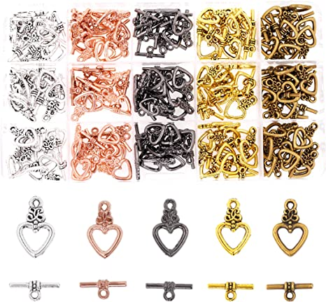 findings for jewellery making 20 silver plated plain t bar or toggle clasps