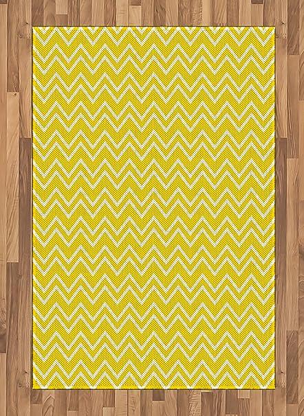 Amazon Com Ambesonne Yellow Area Rug Zig Zag Chevron Pattern In