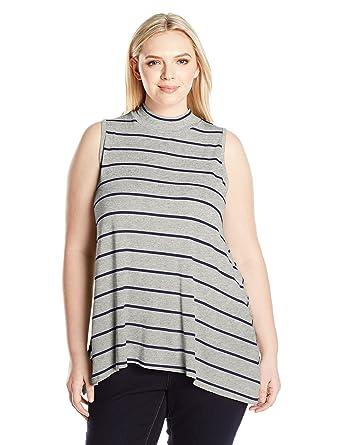 b697b9c0360 Amazon.com  Derek Heart Junior s Plus Size Sleeveless Mock Neck Top   Clothing