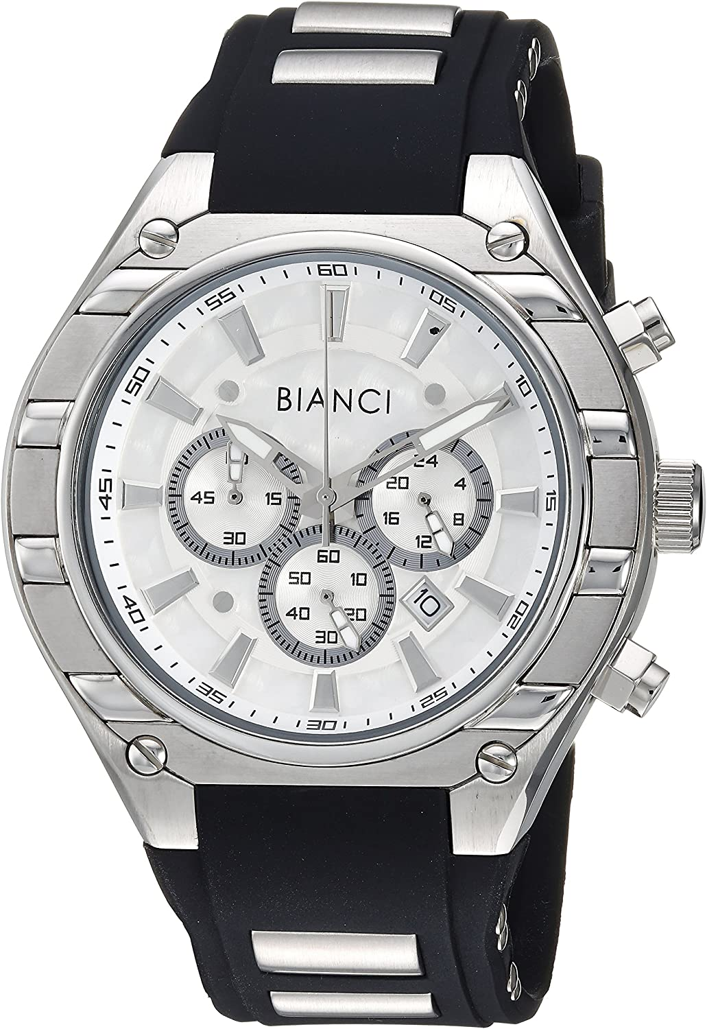 ROBERTO BIANCI WATCHES Men's Ameglio Stainless Steel Quartz Watch with Silicone Strap, Black, 23.5 (Model: RB54442)