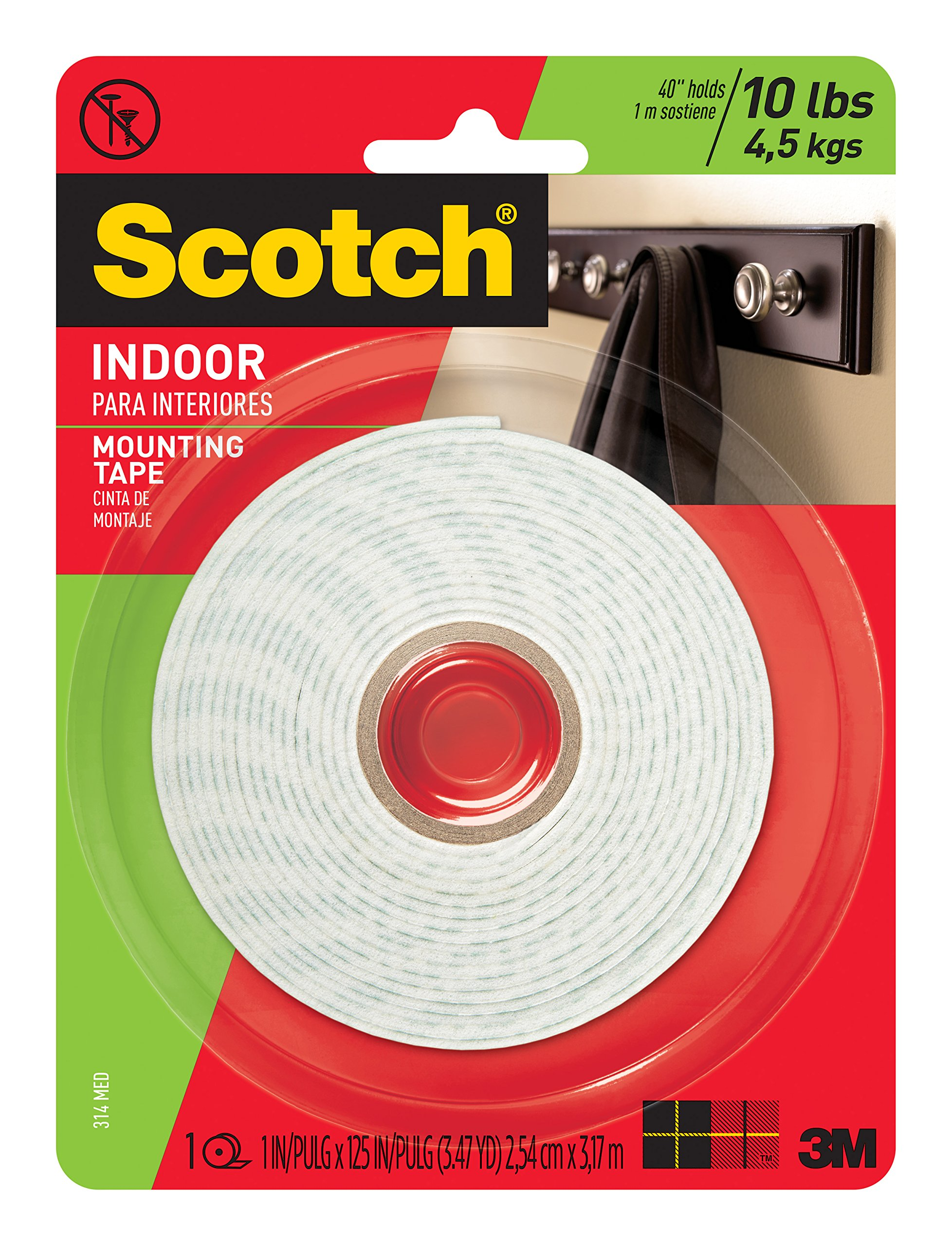 Scotch Mounting, Fastening & Surface Protection 314 783961045463 Scotch Indoor Mounting Tape, 1-Inch x 125-Inches, 1-Roll (314P), White