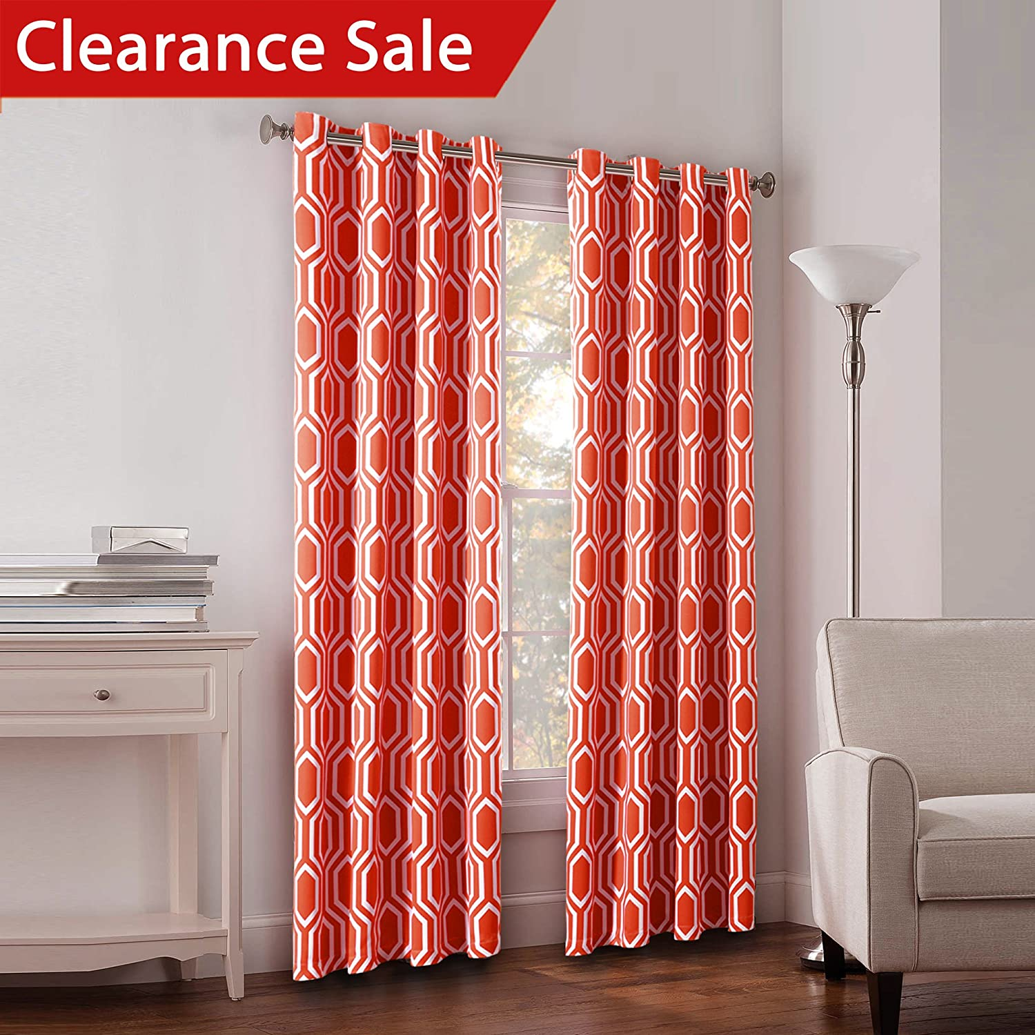 Peach curtains drapes - Flamingop Light Blocking Honeycomb Insulated Blackout Drapes Printed Winter Curtains For Living Room Grommet Top