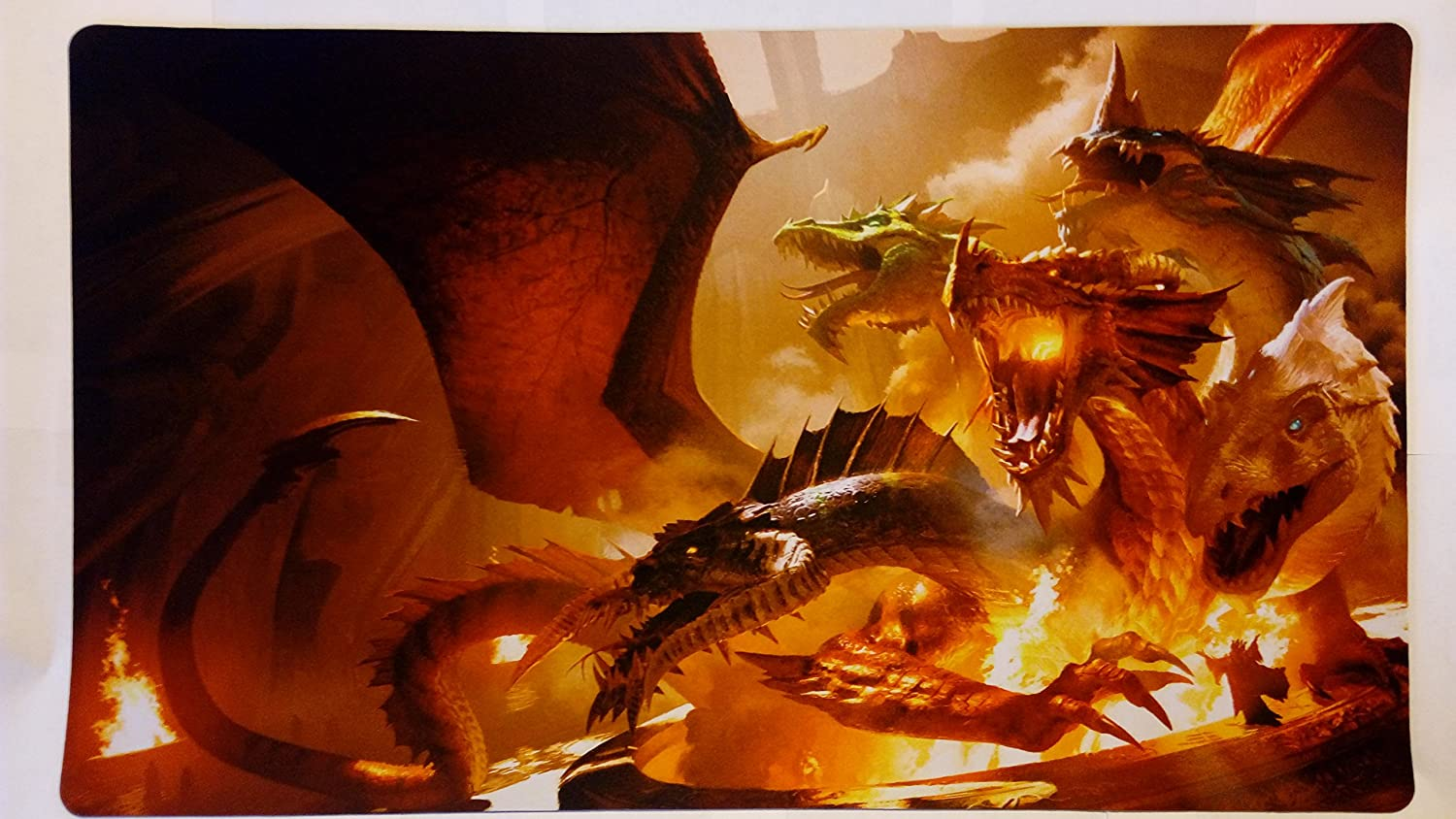 gamemat 24 wide 14 tall for trading card game smooth cloth surface rubber base Five headed Dragon TCG playmat