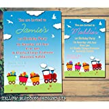 children s birthday party invitations colourful train design packs
