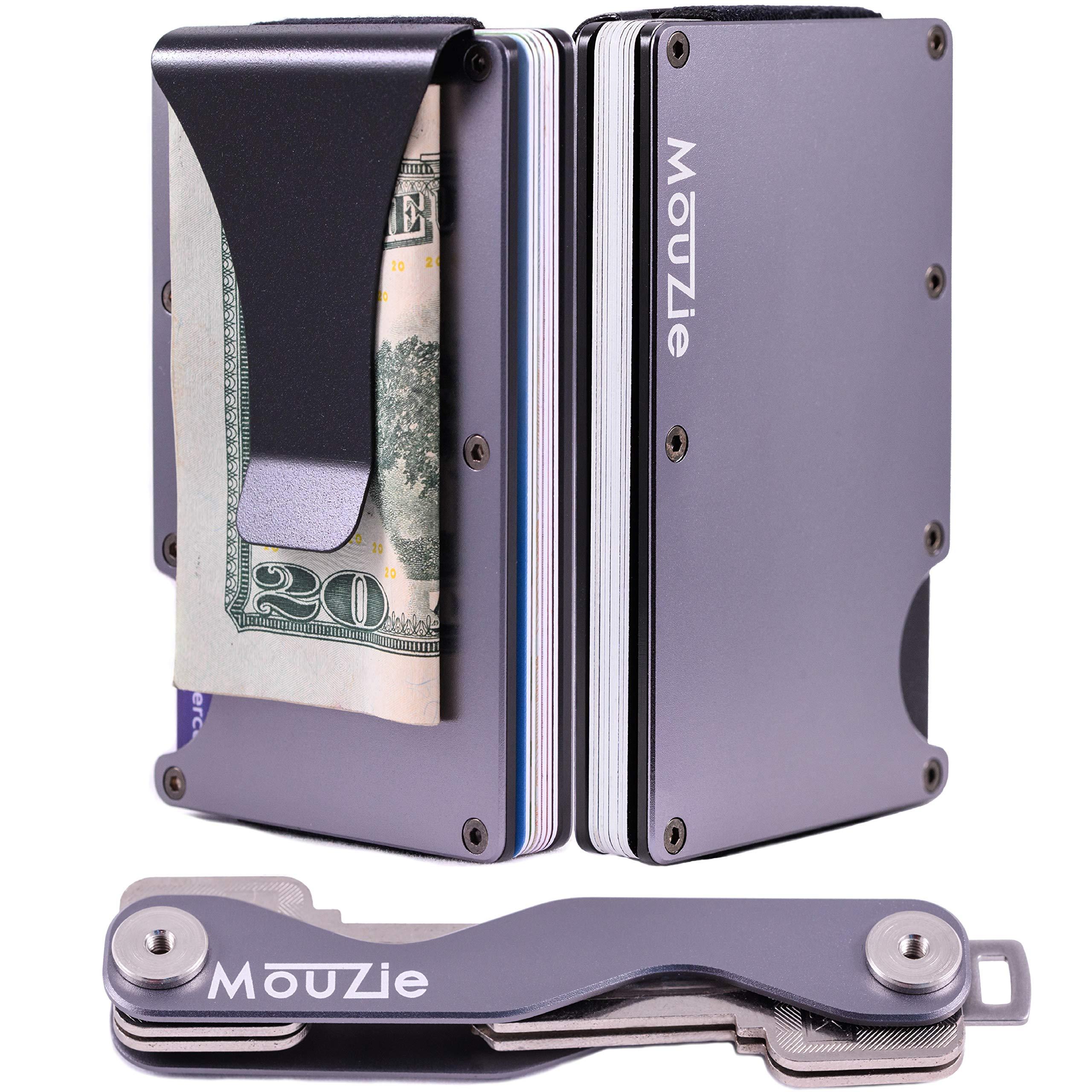 MouZie Gunmetal Money Clip + Cash Strap Band Slim Aluminum RFID Blocking Minimalist Premium Front Pocket Credit Card Holder Wallet + Compact Key Organizer Keychain Set Gift For Men Women